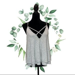 Lush tank top with criss cross front detail size M
